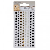 Adhesive pearls and gems - black & gold (112pcs)