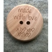 Houten knoop Made with love 2,5cm