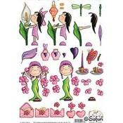 S & R Meisje met roze bloemen 894133